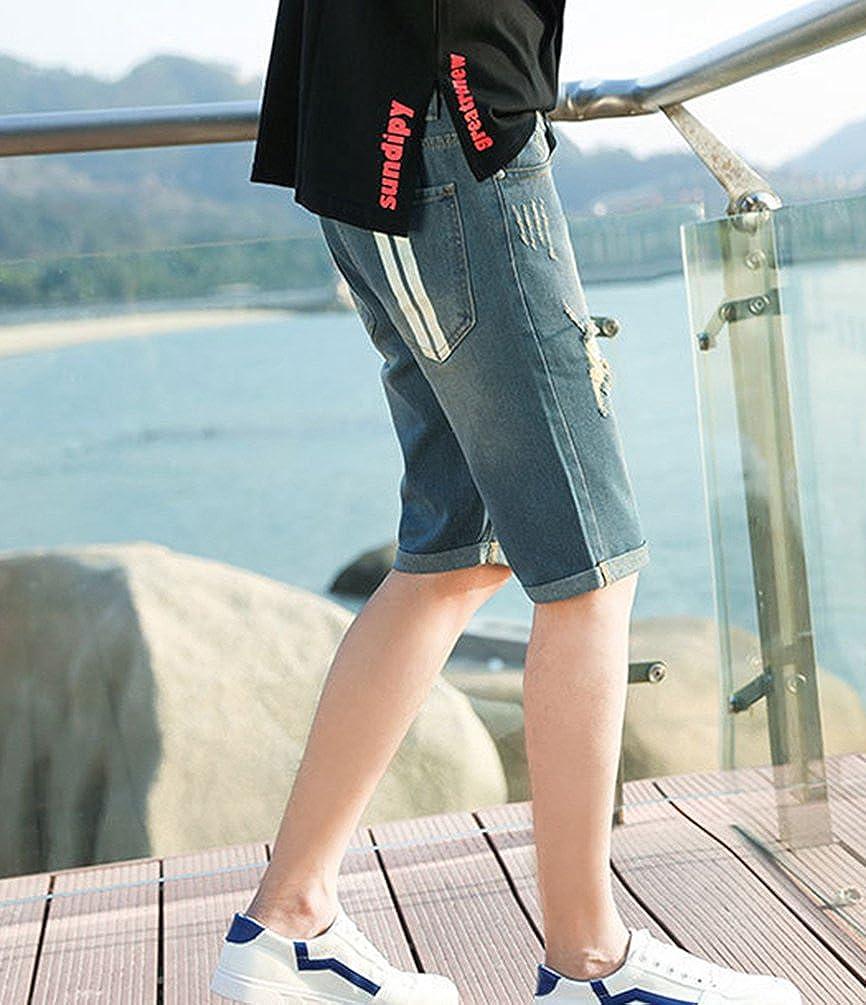 d4c8c6b21b4 Xinwcang Vaqueros Elasticos Hombre Casual Slim Fit Tejanos Anchos Clasicos  Jeans Rasgados Pantalon Corto Algodon Azul1 36: Amazon.es: Ropa y accesorios