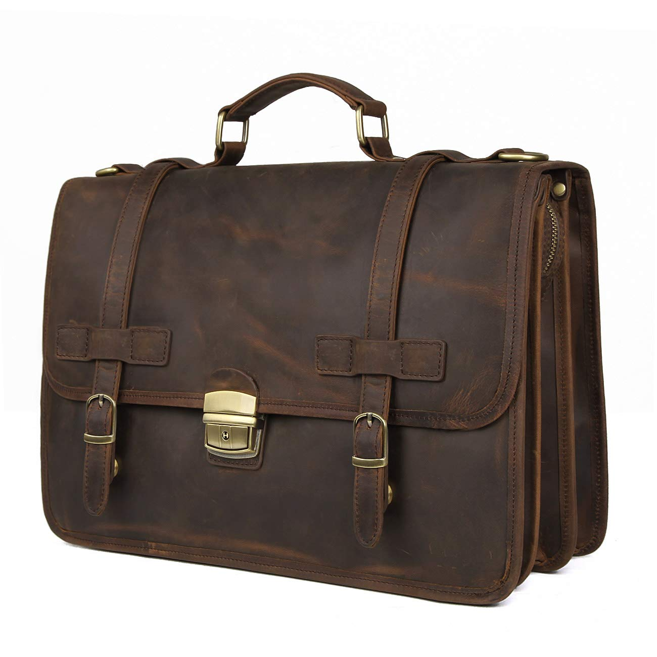 Augus Leather Briefcase Messenger for Men Anti-Theft 14 inch Laptop Business Travel Bags(Coffee)