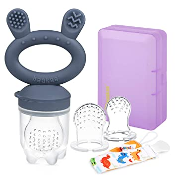 haakaa Baby Teething Toys Silicone Rabbit Ear Teether Rings for Babies Bpa Free Safely Cute Pink