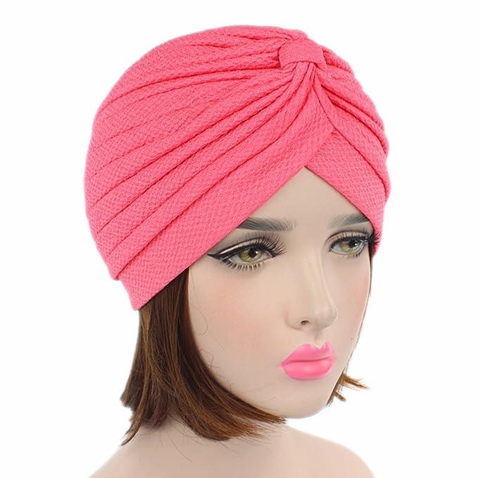 LUFA Mujeres plisado volante Chemo Knit atado Turbante Gorra Musulmana cabeza bufanda sombrero Headwrap: Amazon.es: Deportes y aire libre
