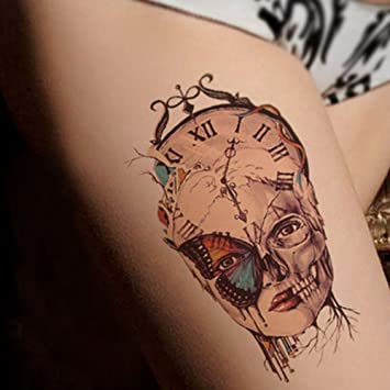 Cokohappy Large Temporary Tattoo Machine Clock Skull Butterfly