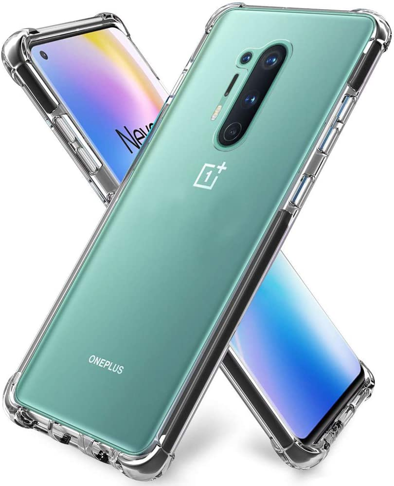 ZeKing OnePlus 8 Pro Case Anti-Scratch Crystal Clea with Four Corner Bumper Protective Case Cover Compatible for OnePlus 8 Pro(Transparent)