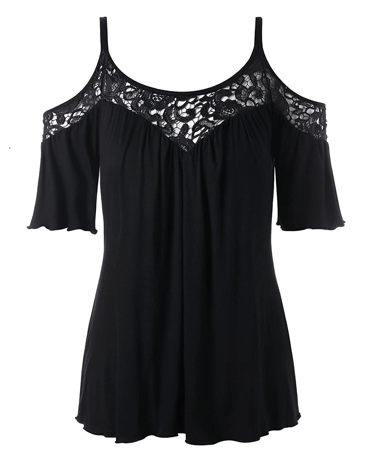 ZAFUL Womens Shirts Plus Size Lace Patchwork Tops Blouse Short Sleeve Tees  at Amazon Women s Clothing store  32f31aa71