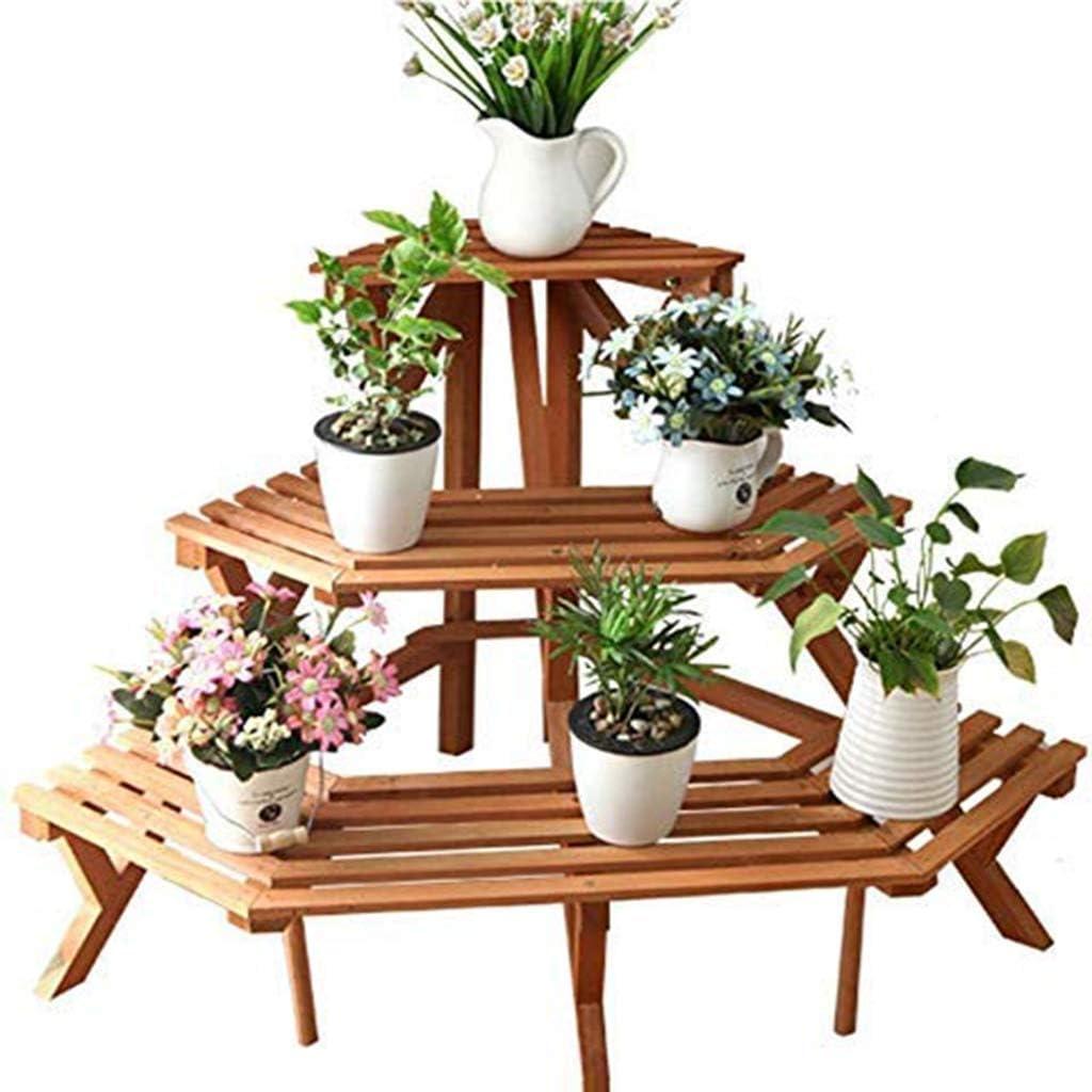 木製の工場花は屋内屋外のバルコニー用シートのステッチ中空デザインで床立ちストレージポット表示シェルフスタンド