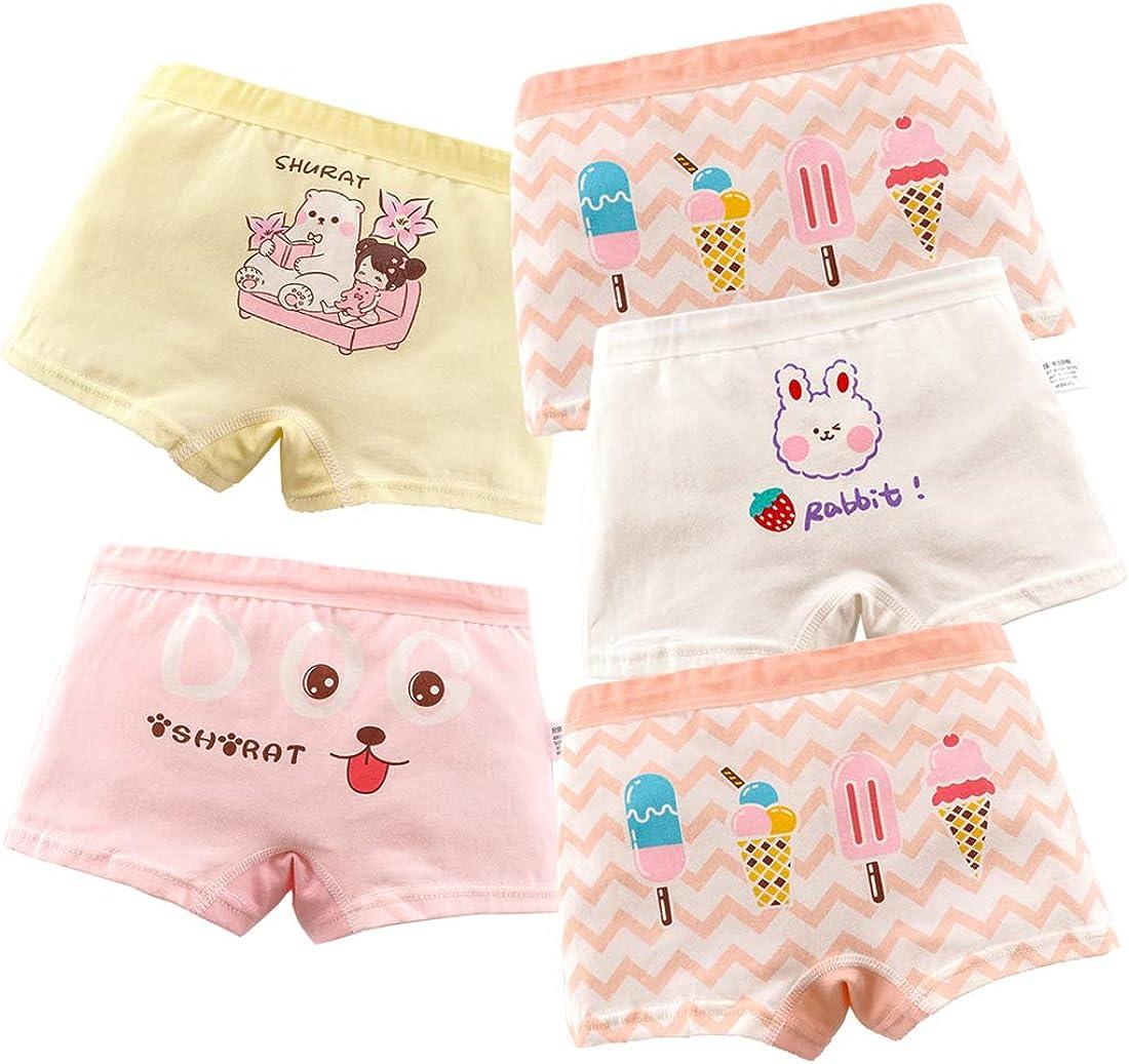 ussense 5er-Pack M/ädchen Unterw/äsche Weiche Baumwolle Unterhosen Kinder Boxershorts Underwear 2 12 Jahre