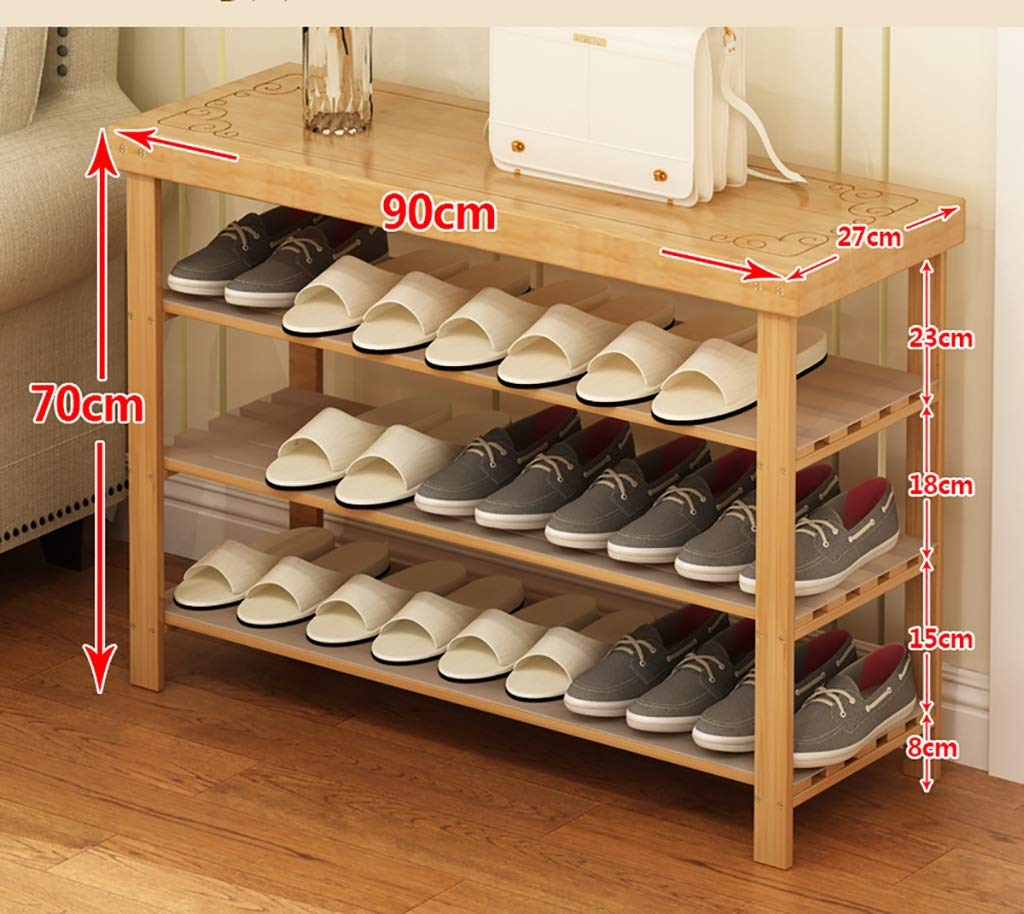 902770cm shoes Bench Organizing Rack shoes Rack Solid Wood Multi-Layer Simple Household Bamboo Door Storage shoes Shelf (Size   50  27  70cm)