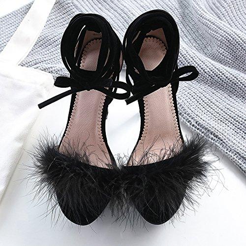 F & J Jf Pump Shoes-fluffy Piuma Piattaforma Cinturino Alla Caviglia Tacchi A Spillo Alti Sandalo Nero