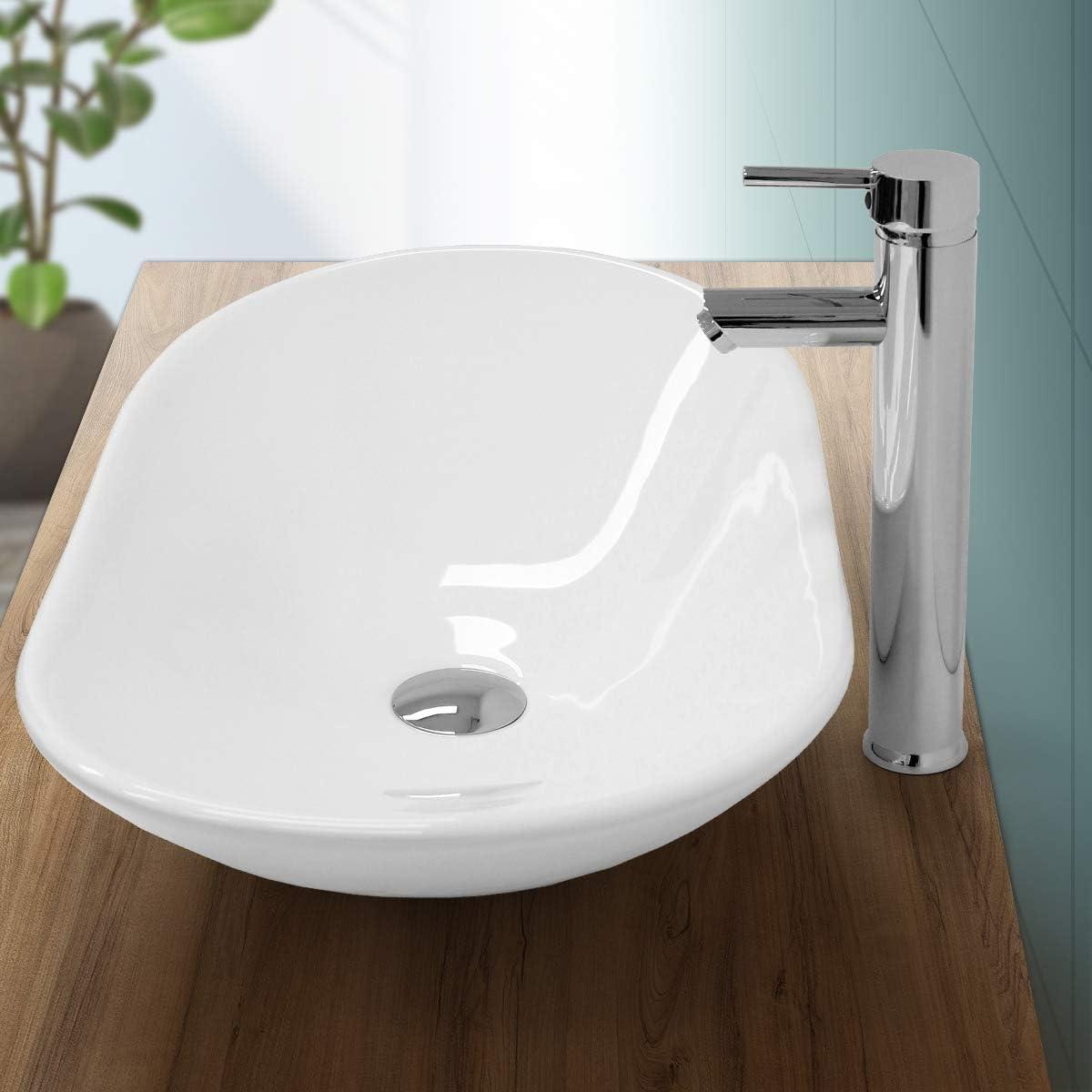 ECD Germany Lavabo de Baño 640x365x130 mm Lavadero de Encimera Material Cerámico Blanca Fregadero de Aseo Cascada Estilo Moderno y Elegante Sanitario Sobremesa Lavamanos Sin Rebosadero
