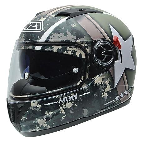 NZI 050286G715 Eurus S Graphics SV Army Casco de Moto, Fondo Militar y Estrella Blanca