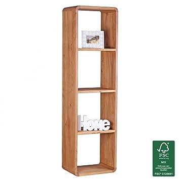 WOHNLING Bücherregal Massiv Holz Akazie 50 X 180 Cm Wohnzimmer Regal  Ablagefächer Design Landhaus