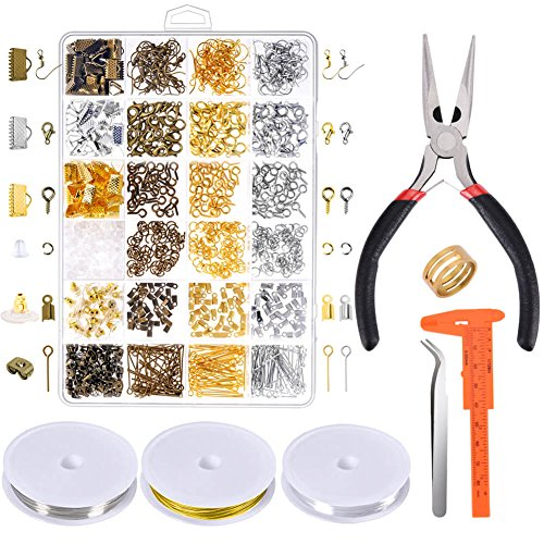 Paxcoo Jewelry Making Supplies Kit - Jewelry Repair Tools with Accessories Jewelry Pliers Findings and Beading Wires for Adult and Beginners -