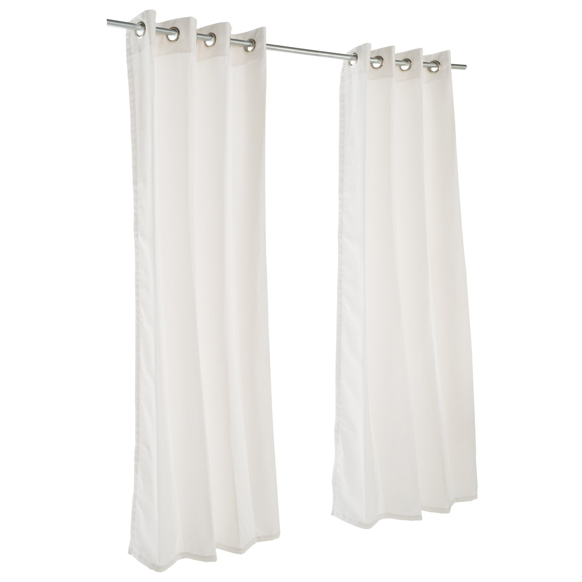 Sunbrella Outdoor Curtain with Nickel Grommets - Canvas White (50 in. W x 120 in. L)