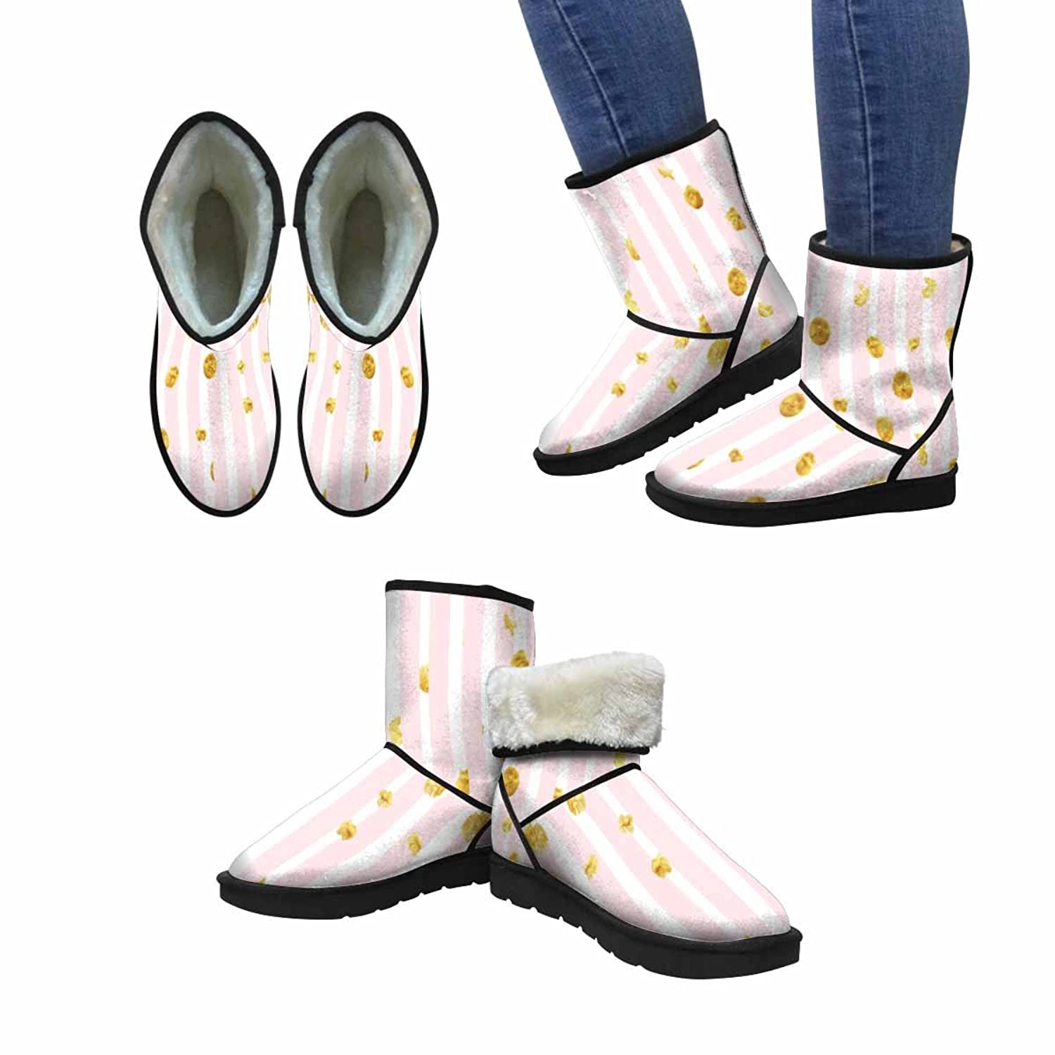 InterestPrint Women's Snow Boots Pink Stripes and Gold Dots Pattern Unique Designed Comfort Winter Boots