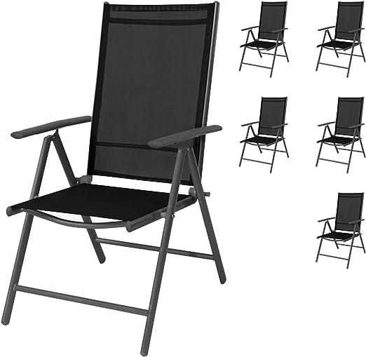 Mojawo - Juego de 6 sillas de jardín (Respaldo Alto, 7 Posiciones, Plegables, Aluminio Resistente a la Intemperie), Color Negro y Antracita: Amazon.es: Jardín