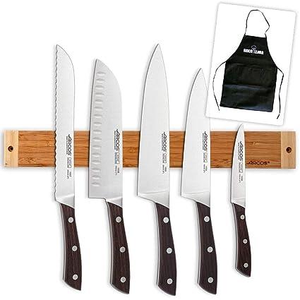 Compra Soporte Magnético de Bambú Arcos + 5 Cuchillos ...