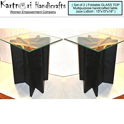 KartnOri Women sHandcrafted Microfibre Wenge Foldable Glass Top Side Table  for Bedroom Drawing Dining Living Room (Medium 15x15x18-inches)- Set of 2   ... b88501af66