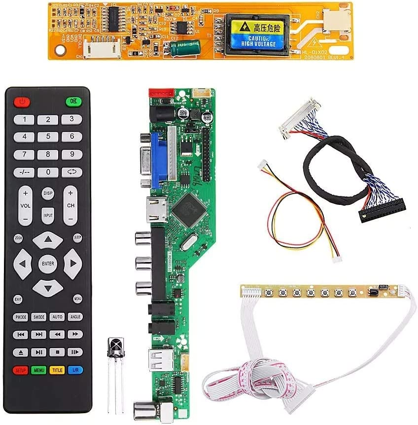 Cvmnkljfge T.RD8503.03 Universal LCD LED TV Controller Driver Board TV//PC//VGA//HDMI//USB+7 Key Button+2ch 6bit 30pins LVDS Cable+1 Lamp Inverter for Arduino /Starter /Kit