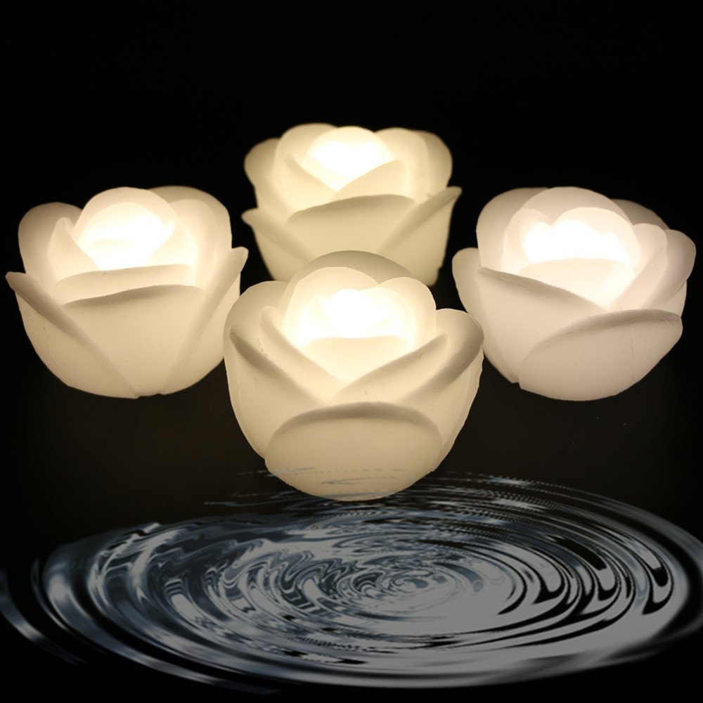 Acmee Pack of 4 Warm White Color Flameless Wax LED Water Floating Rose Candle Light for Wedding or Event Decoration. LED Floating Candle Light in Flower shape Warm white