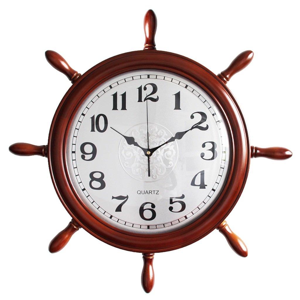 ラダーウォールクロックラージリビングルームサイレントウォッチオフィスクリエイティブ地中海時計ホームインテリア (色 : B) B07F62LVBJB