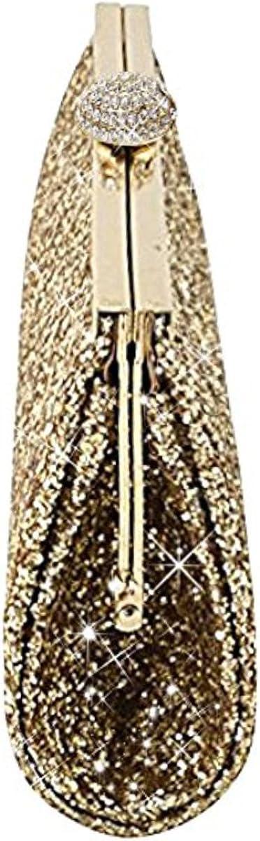 Sasairy Femme Brillant Mini Sac à Main pour Cocktail Party Elégante Portefeuille Pochette Mini Sac de Mariage Soirée Bal avec Chaîne Cadeau d'Anniversaire Doré