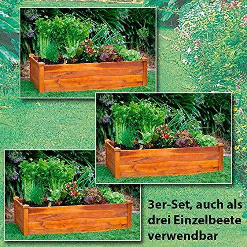 Gartner Potschke Hochbeet Klassik 3er Set Akazienholz Stapelbar