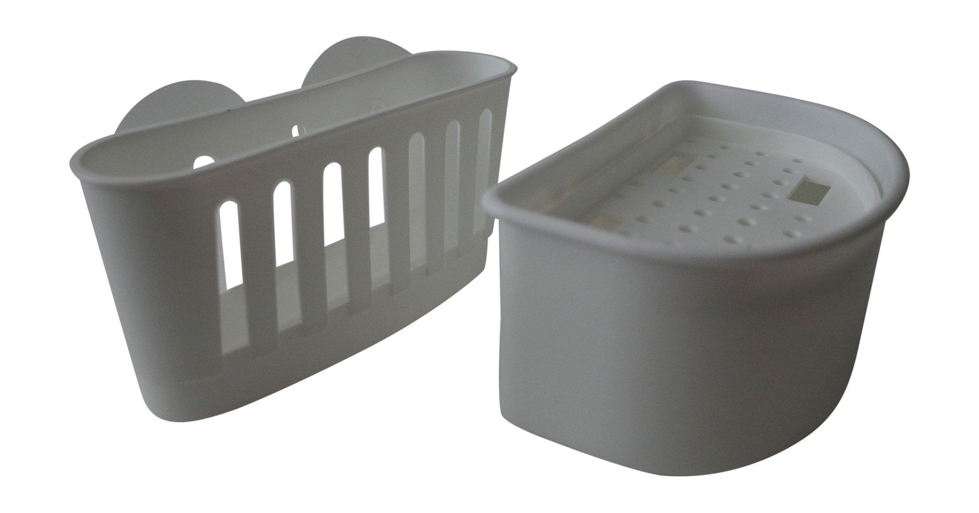 Sponge Holder Suction Caddy and Soap Dish Tray Kitchen and Bathroom Set, Plastic, Sink Caddy Kitchen Orgainization Dishwashing Liquid Drainer Rack Bottle Brush Scrubber Storage (White)