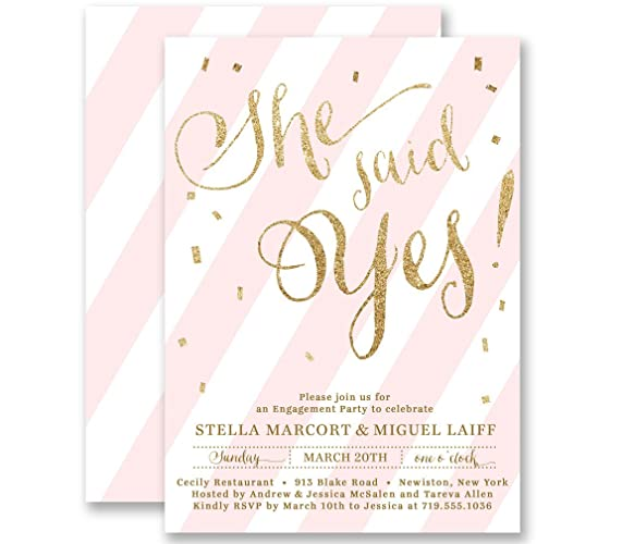 Amazoncom She Said Yes Engagement Party Invitations Pink Striped