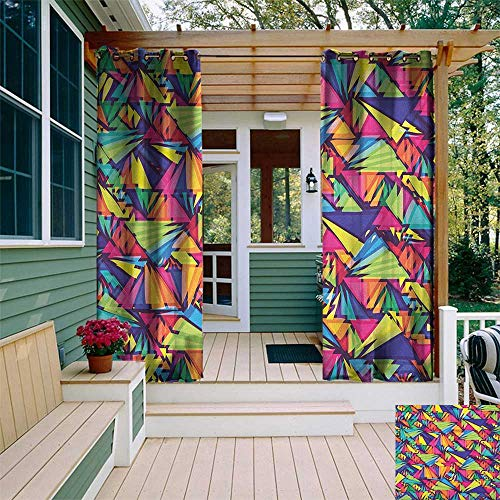 leinuoyi Indie, Porch Curtains Outdoor Waterproof, Geometrical Hipster Pattern with Triangles Vibrant Optical Illusion Artsy Abstract, for Patio Waterproof W72 x L96 Inch Multicolor