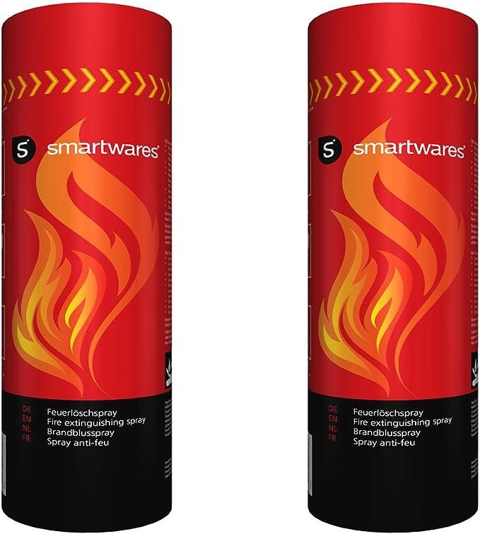 Smartwares Juego de 2 pulverizadores de extintor de incendios para el hogar, el coche, el camping FS600