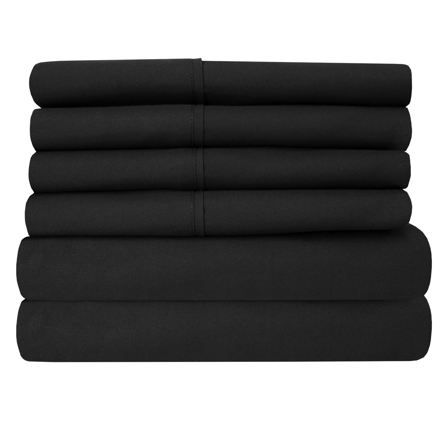 Full Size Bed Sheets - 6 Piece 1500 Thread Count Fine Brushed Microfiber Deep Pocket Full Sheet Set Bedding - 2 Extra Pillow Cases, Great Value, Full, Black