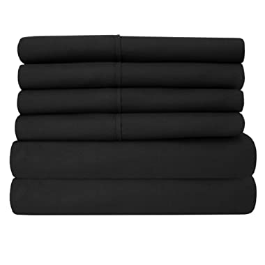 King Size Bed Sheets - 6 Piece 1500 Thread Count Fine Brushed Microfiber Deep Pocket King Sheet Set Bedding - 2 Extra Pillow Cases, Great Value, King, Black
