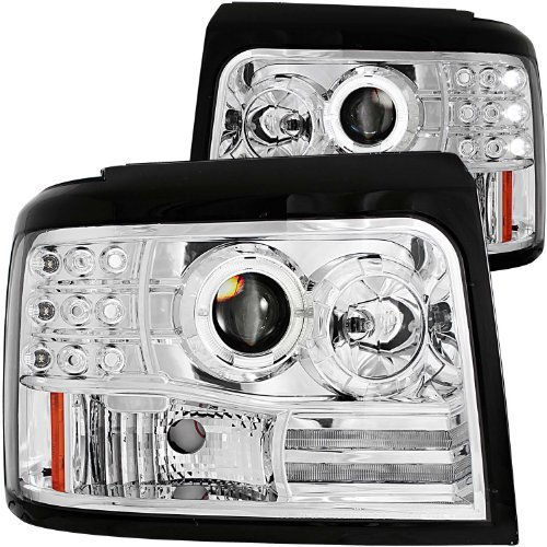 AnzoUSA 111183 Chrome Projector Halo Headlight with Side Marker and Parking Light for Ford F-150/F-250/Bronco - (Sold in Pairs) [並行輸入品]   B07FCZG28P
