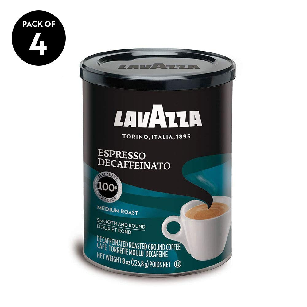 Lavazza Espresso Decaffeinato Ground Coffee Blend, Decaffeinated Medium Roast, 8-Ounce Cans (Pack of 4) by Lavazza