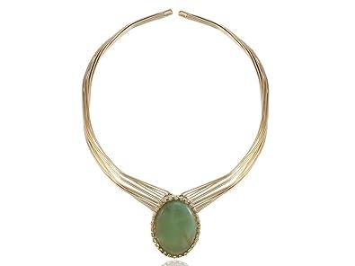 54f813fc190ce Amazon.com: Alilang Golden Toned Contemporary Single Shiny Green ...