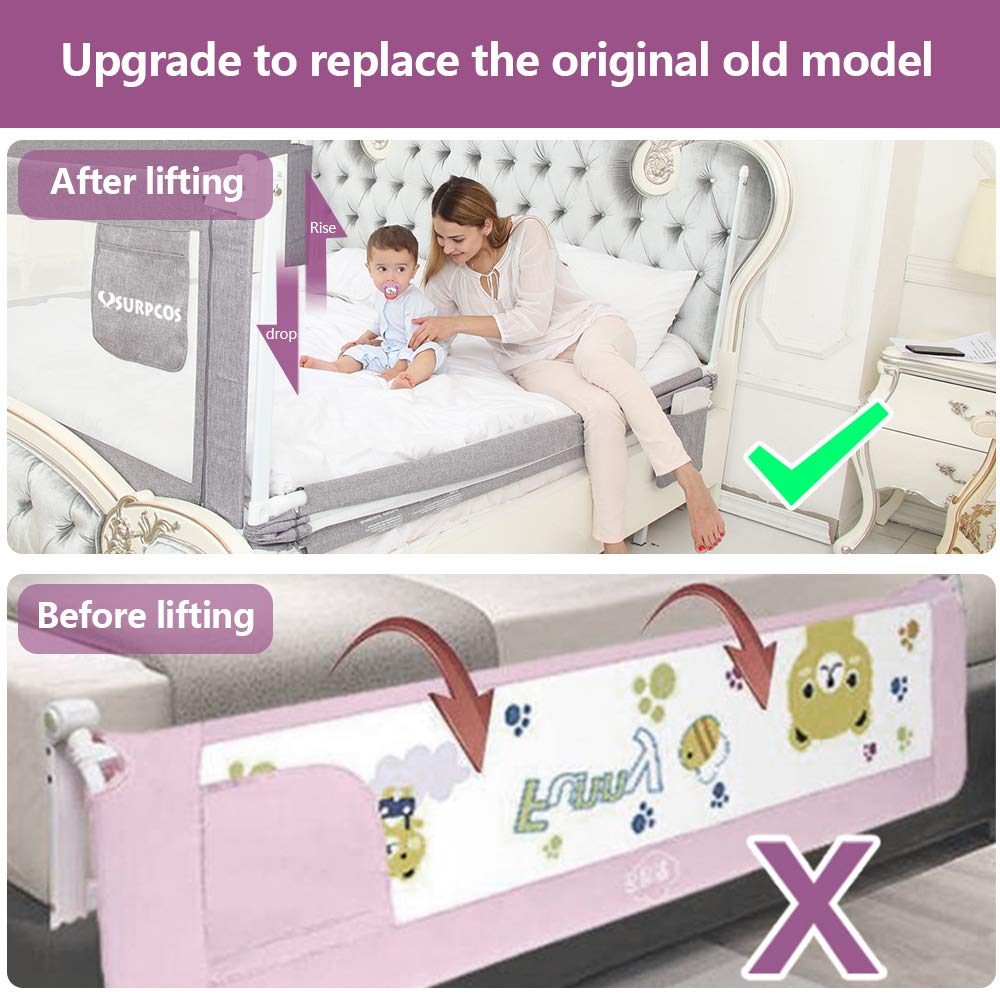 SURPCOS 70'' Bed Rails for Toddlers - Extra Long Baby Bed Rail Guard for Kids Twin, Double, Full Size Queen & King Mattress [1-Side] (Gray) by SURPCOS (Image #6)