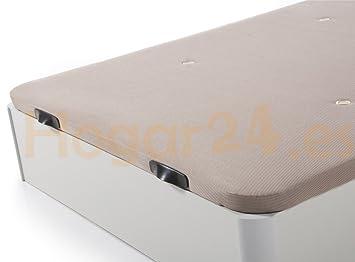 HOGAR24.es. Canapé abatible Madera Gran Capacidad con Tapa 3D y válvulas de transpiración, incorpora esquineras en Madera Maciza, Color Blanco 135X190: ...