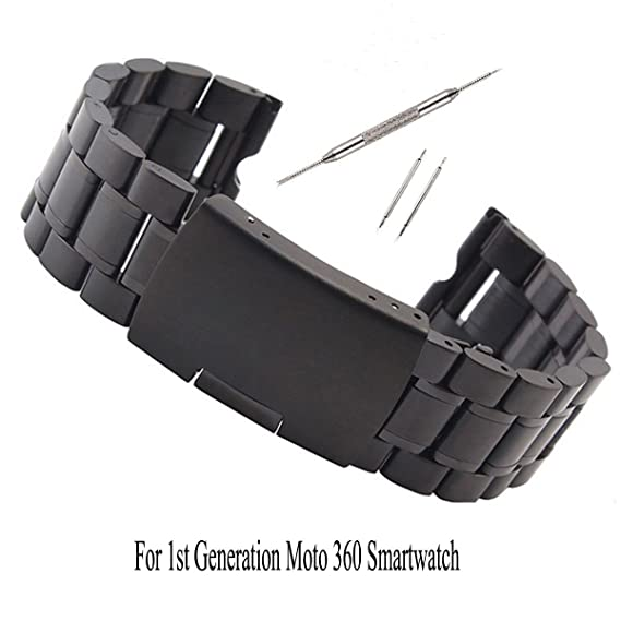 Kuxiu 22mm Stainless Steel Metal Watch Band Strap Bracelet for Motorola Moto 360 1st Gen Black+Tools