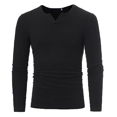3523bddf Viahwyt Men's Slim Muscle Fit Jumper Long Sleeve T-Shirt Plain Stretchy  Knit Top Pullover