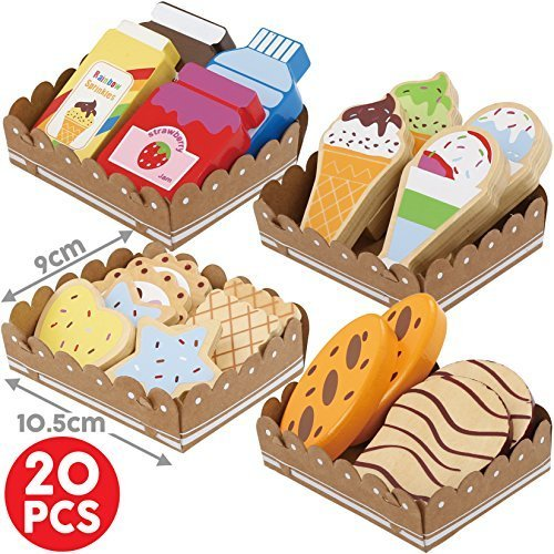 Bee Smart - Wooden Pretend Play Food - Toy Food with Sturdy Cardboard Serving Trays (Food Play Wooden)