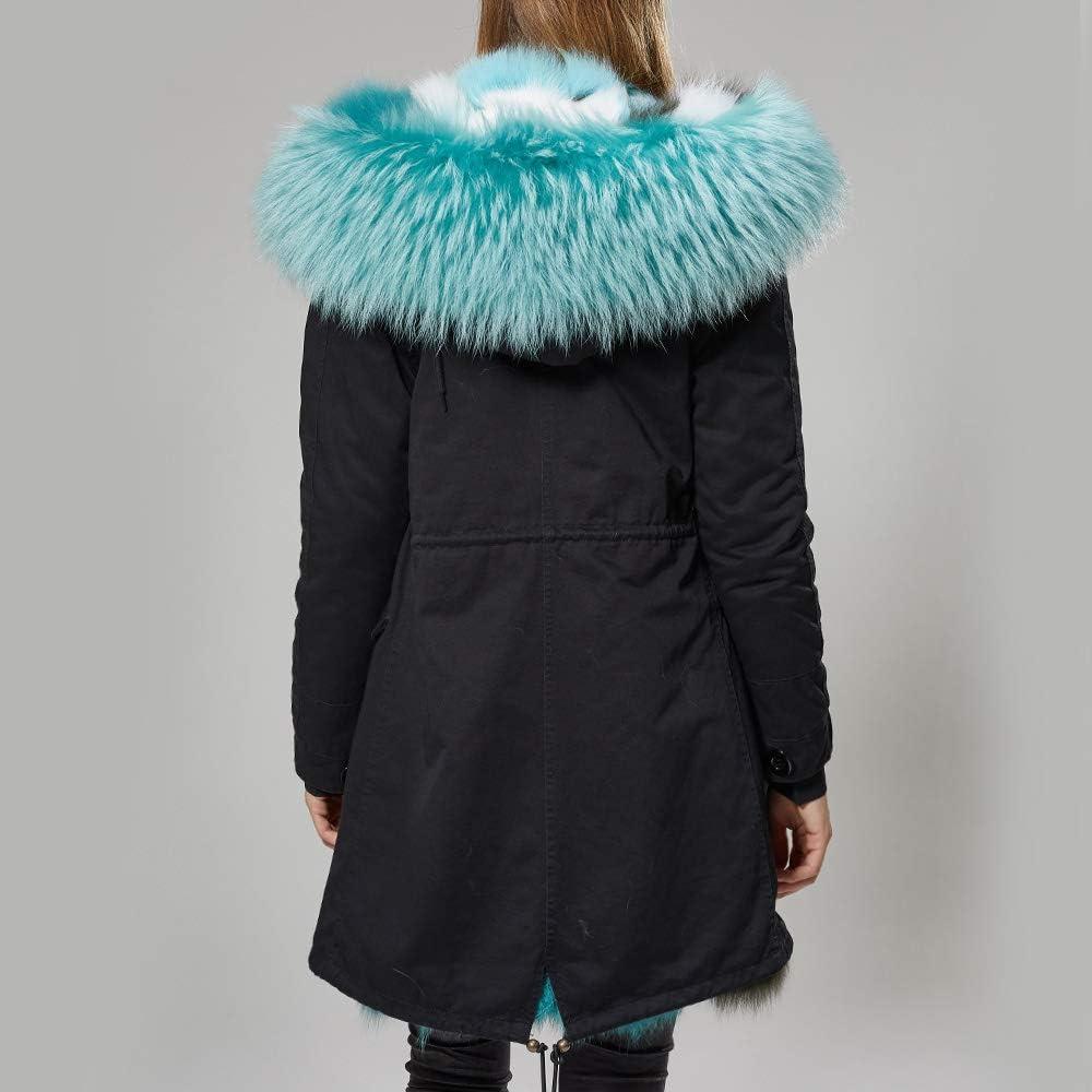 SHOUBANG Cappotto Cappotto Invernale da Donna con Collo Lungo in Pelliccia E Cappuccio Caldo in Pelliccia X-106-L