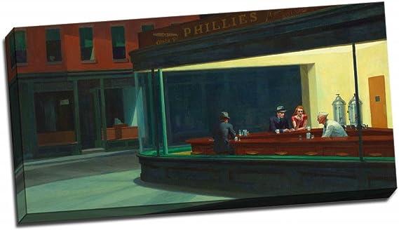 Gran Edward Hopper Nighthawks 1942 impresión DE lienzo Art Póster ...