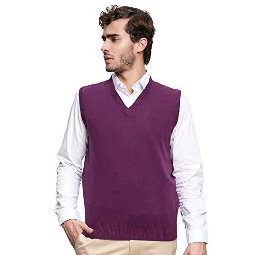 Spring Air Mens 100 Cashmere Sweater Solid Slim Fit Sleeveless V