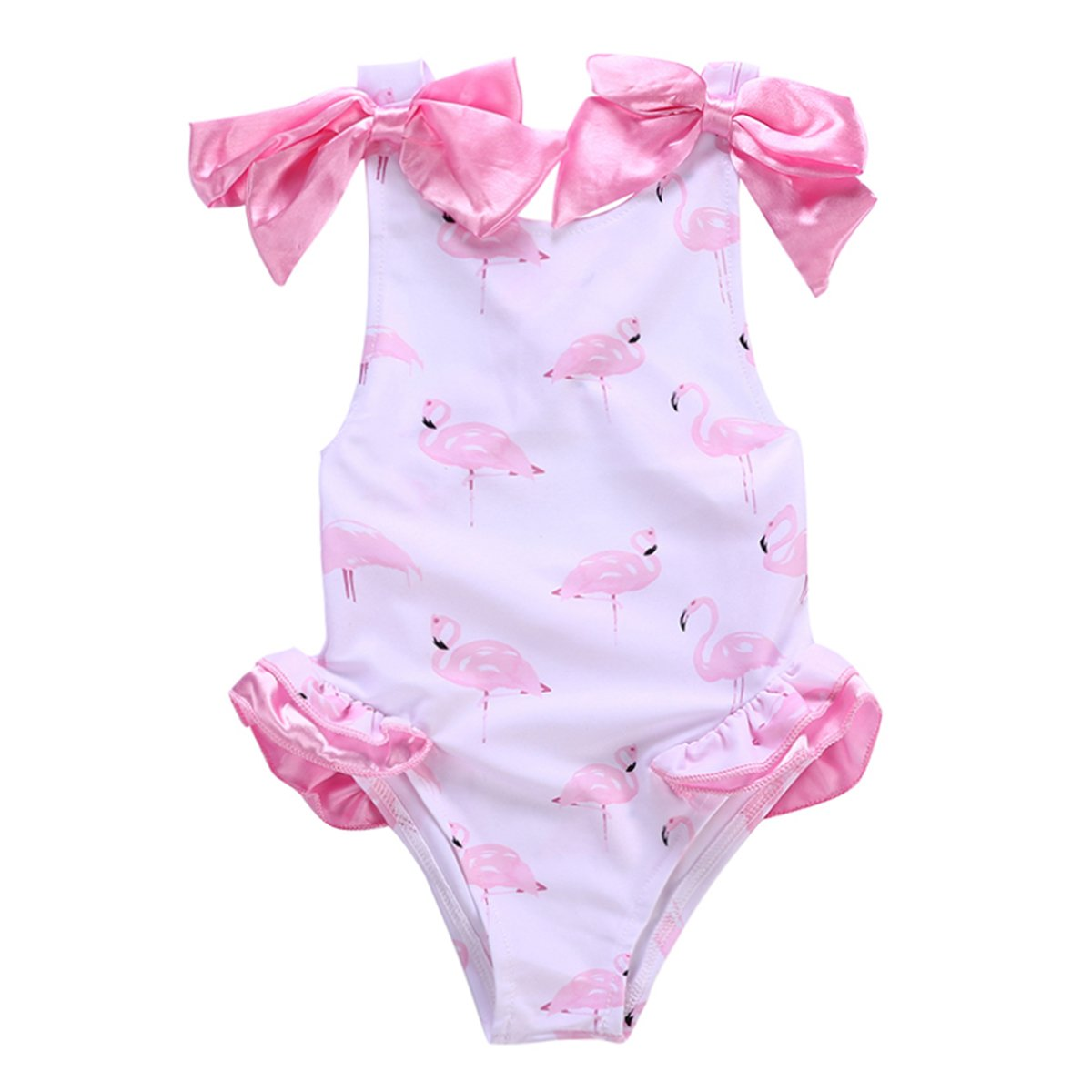Toddler Baby Girl Bowknot & Flamingo Swimsuit Beachwear Swimwear Bathing Suit