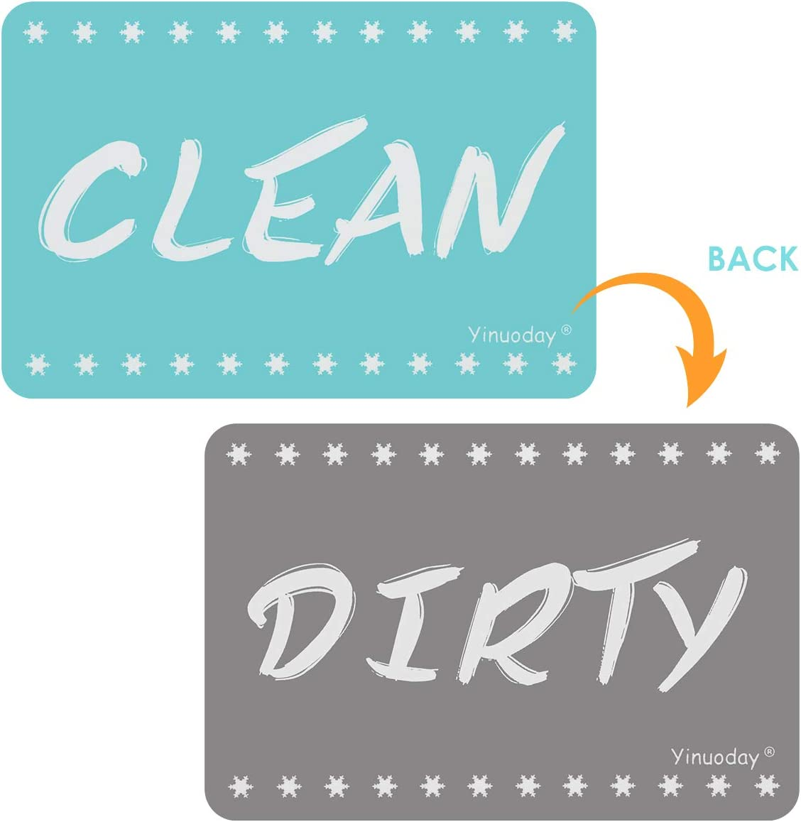 Yinuoday Dishwasher Magnet Clean Dirty Sign Suitable for All Dishwasher Strongest Magnet Double Sided Flip Dirty Clean Dishwasher Magnet Sign