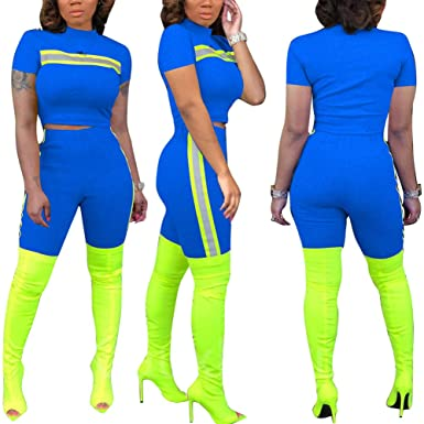 7e6dc497406f Womens 2 Piece Outfits Jumpsuits Reflective Crop Top Pant Set Tracksuits  Clubwear Blue S