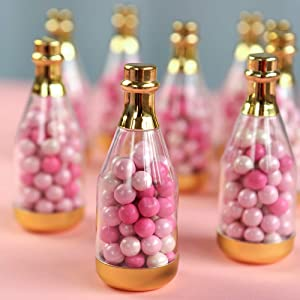 Kate Aspen Metallic Champagne Bottle Container (Set of 12) DIY Favor, One Size, Clear, Gold
