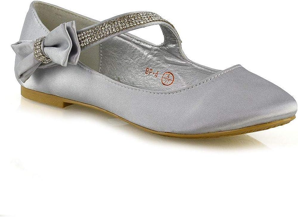 ESSEX GLAM Scarpe Donna Piatto Nuziale Velcro Cinghia Fiocco Ballerina Pompe