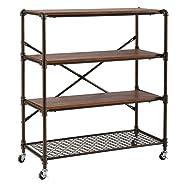 O&K Furniture 4-Shelf Industrial Bookcase Storage Organizer on Wheels, Rustic Standing Shelf Units, Brown Finish