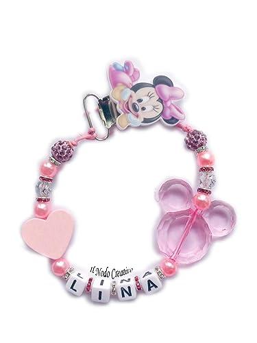 Cadena de chupete | rosa Minnie disney | chupetero con ...