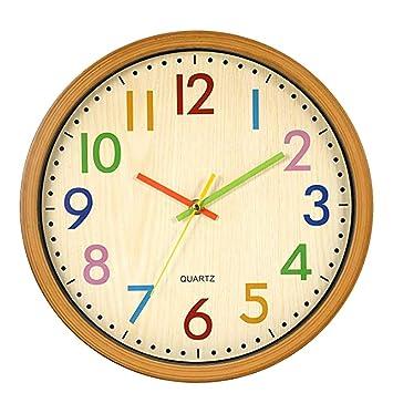 Meerveil 1 PC 12 Pulgadas Casual Imitación Madera Silencio Personalidad Creativa Reloj de Pared de Cuarzo Estudio Oficina Dormitorio Sala de Estar (baterías ...